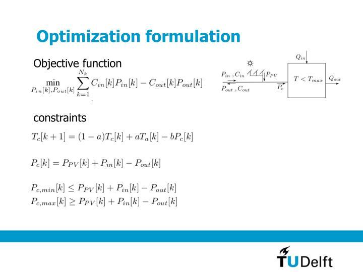 Optimization formulation