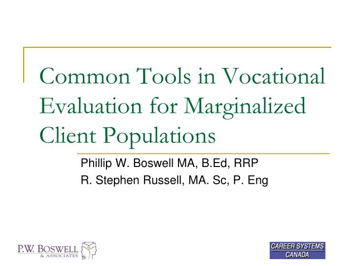 common tools in vocational evaluation for marginalized client populations n.