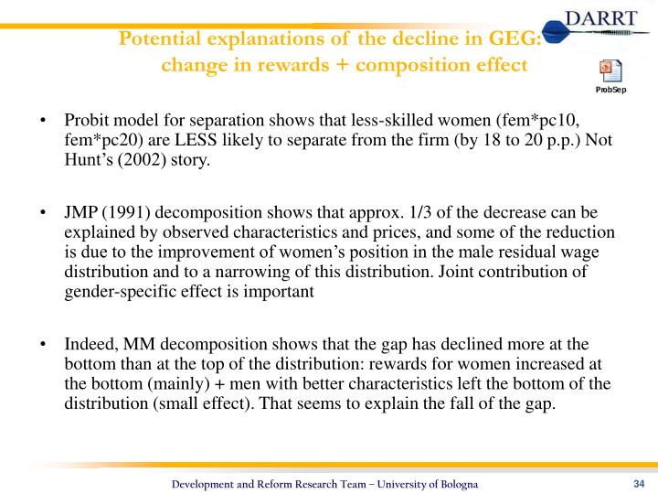 Potential explanations of the decline in GEG:
