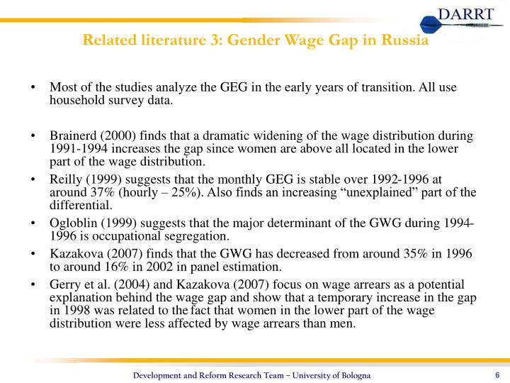 Related literature 3: Gender Wage Gap in Russia