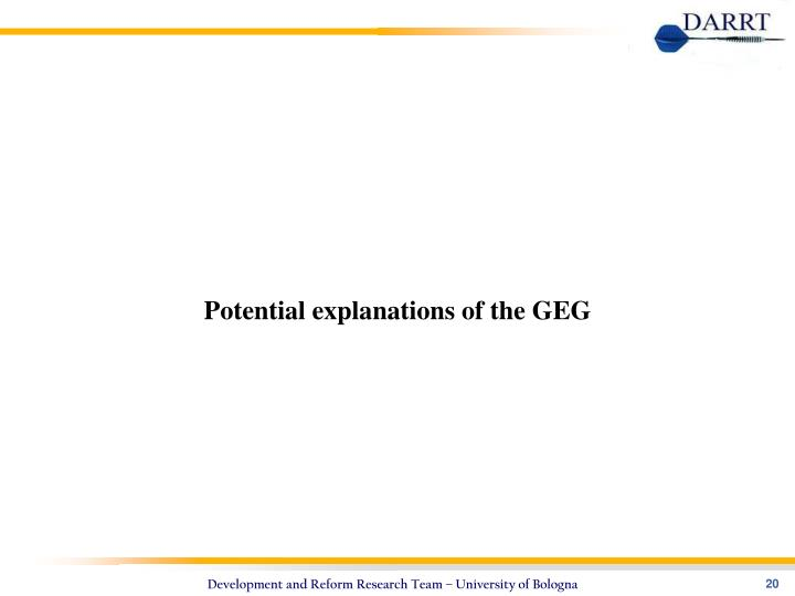 Potential explanations of the GEG