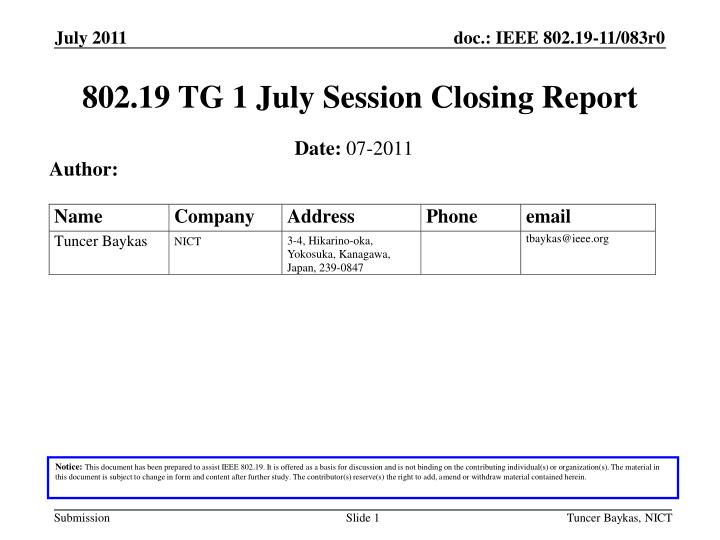 802 19 tg 1 july session closing report n.