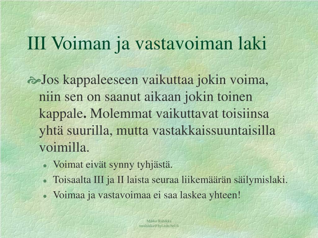 Voiman Ja Vastavoiman Laki
