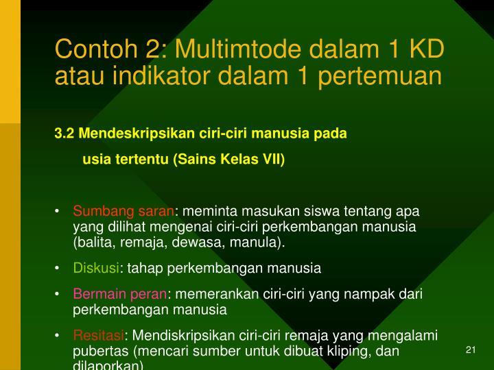 Contoh 2: Multimtode dalam 1 KD atau indikator dalam 1 pertemuan
