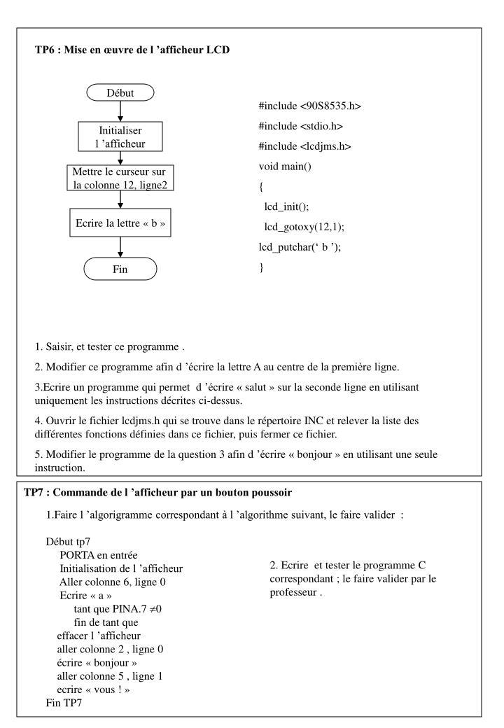 TP6 : Mise en œuvre de l'afficheur LCD