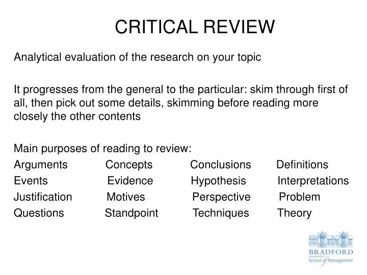 trips a critical reveiw The critical review is a writing task that asks you to summarise and evaluate a text the critical review can be of a book, a chapter, or a journal article writing the critical review usually requires you to read the selected text in detail and to also read other related texts so that you can.