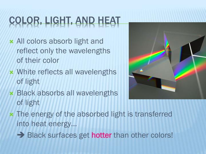 the effects of color on the absorption of light The density of water also affects colors water absorbs colors of the light spectrum as light rays travel through the water, and this is called absorption red is the first color absorbed, followed by orange, yellow, green, blue, indigo, and violet a useful way to remember this order is roy-g-biv.