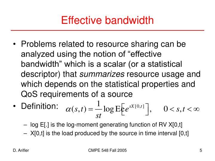 Effective bandwidth