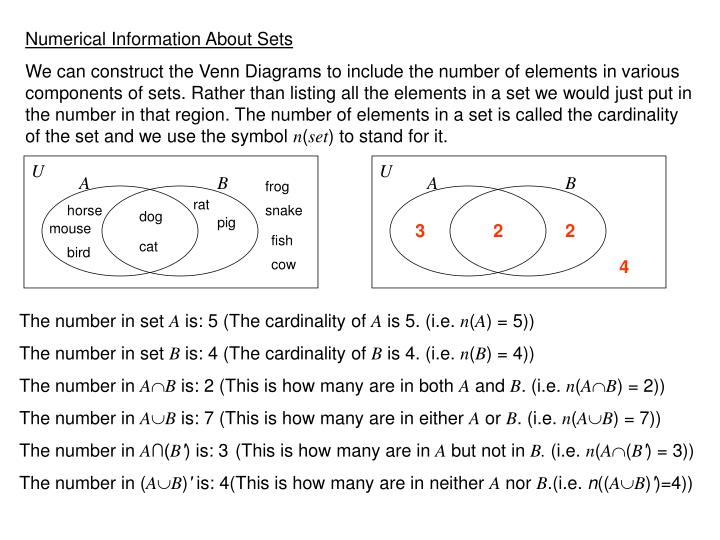 Numerical Information About Sets