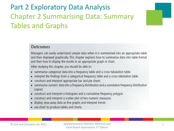 PPT - Part 2 Exploratory Data Analysis Chapter 2 Summarising