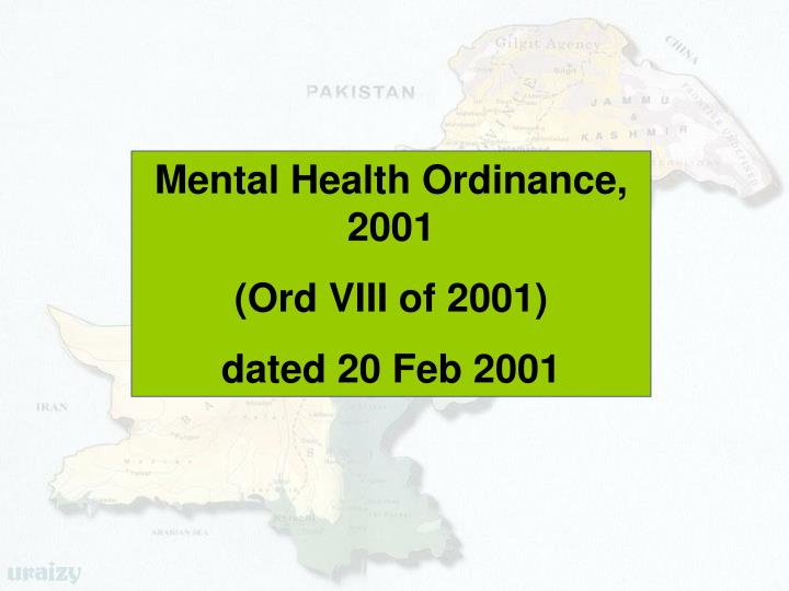 Mental Health Ordinance, 2001