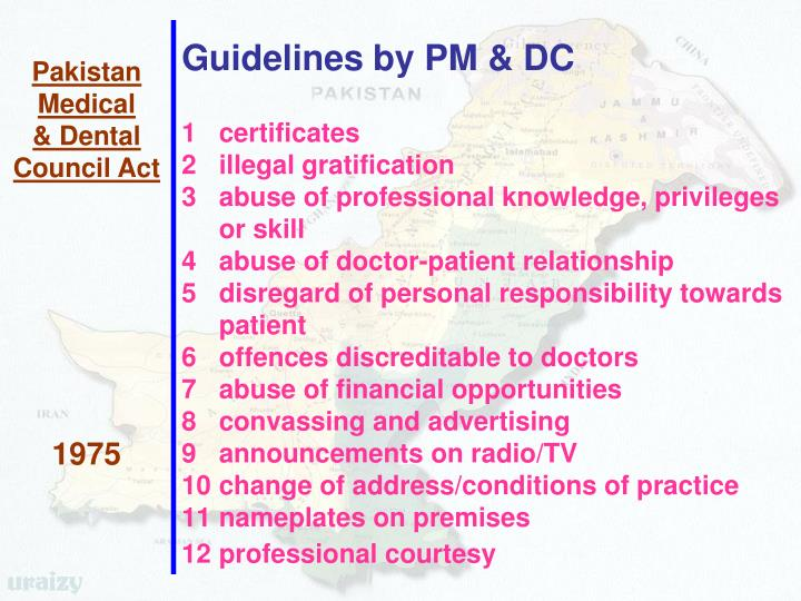 Guidelines by PM & DC