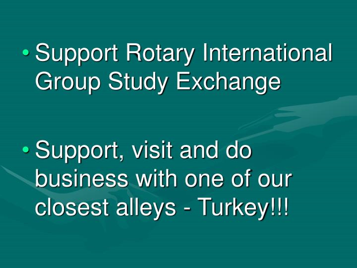 Support Rotary International Group Study Exchange