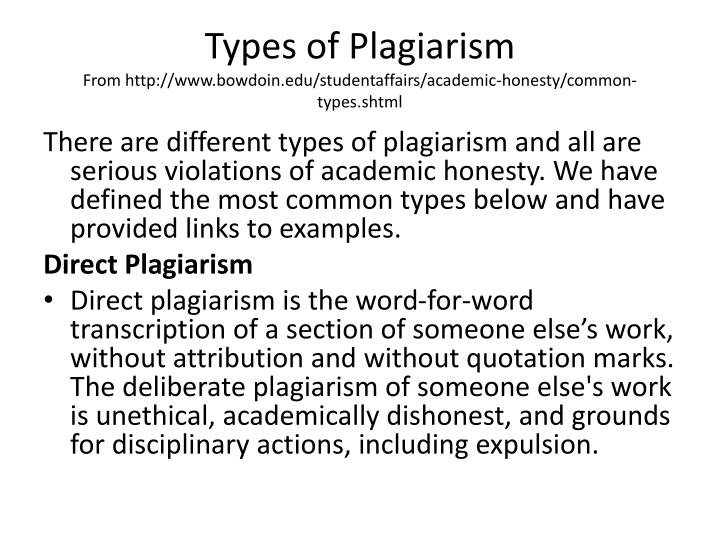 Types of Plagiarism