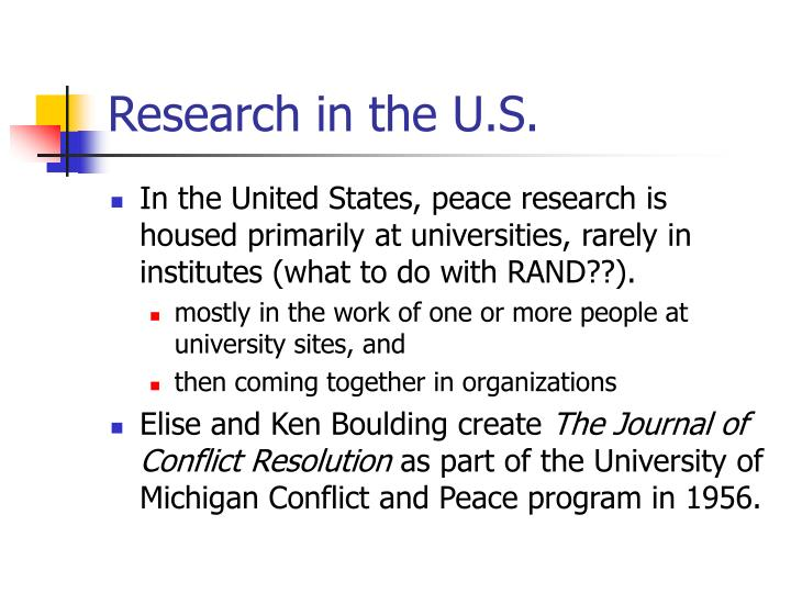 Research in the U.S.
