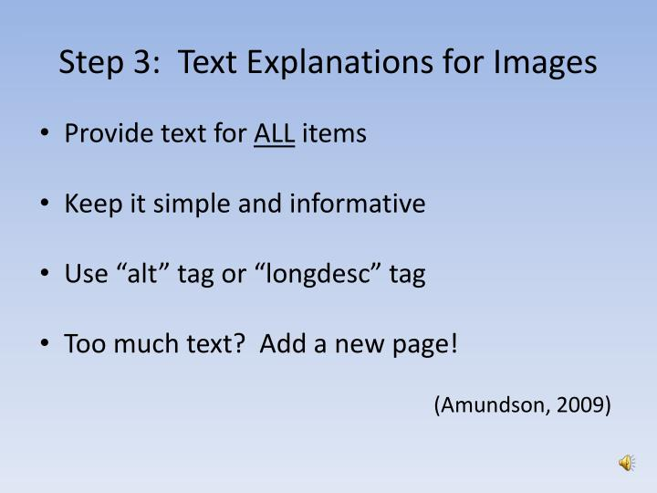 Step 3:  Text Explanations for Images