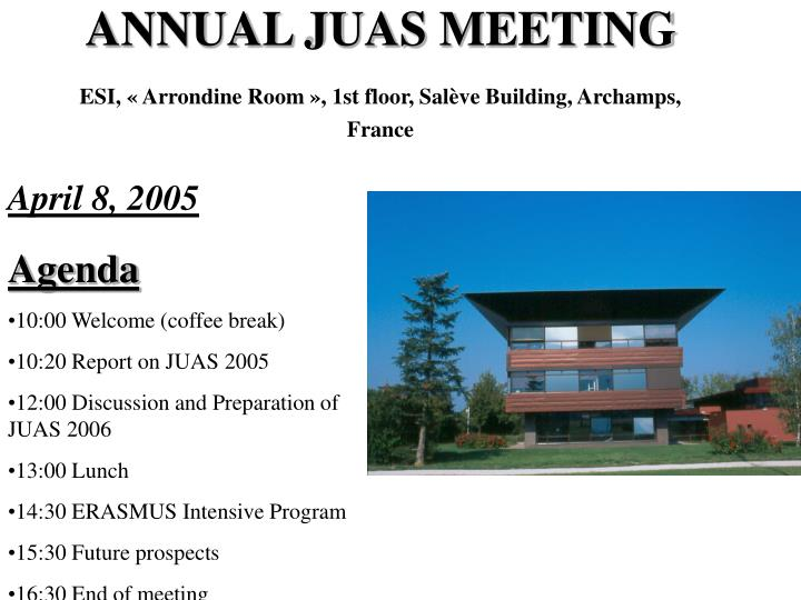 6a124452bea7b8 PPT - JUAS MEETING 2005 EUROPEAN SCIENTIFIC INSTITUTE, Archamps ...