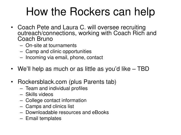 How the Rockers can help
