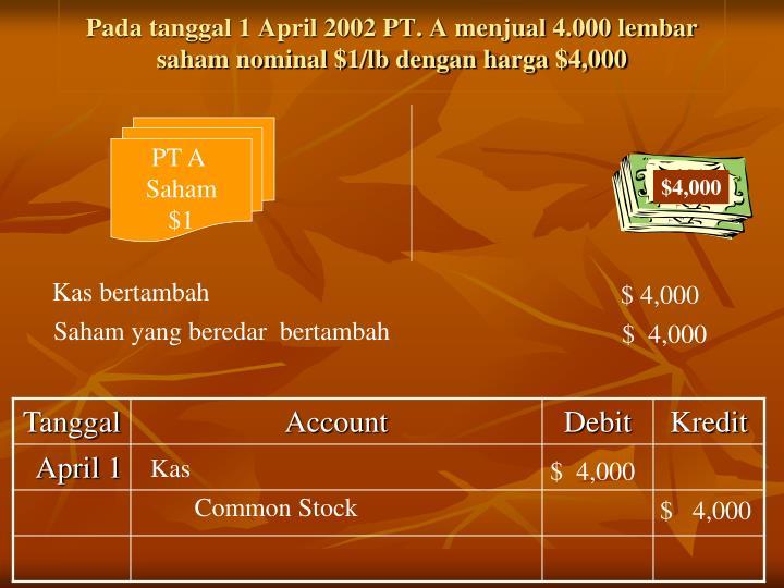 Pada tanggal 1 April 2002 PT. A menjual 4.000 lembar saham nominal $1/lb dengan harga $4,000