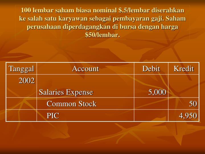100 lembar saham biasa nominal $.5/lembar diserahkan ke salah satu karyawan sebagai pembayaran gaji. Saham perusahaan diperdagangkan di bursa dengan harga $50/lembar.
