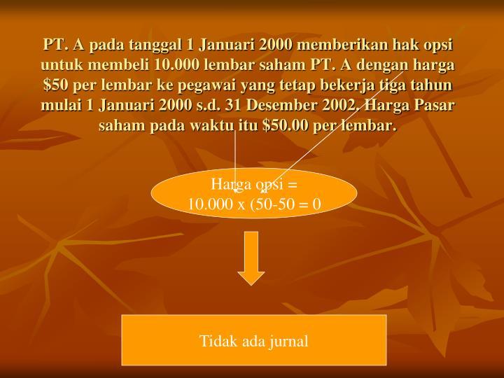 PT. A pada tanggal 1 Januari 2000 memberikan hak opsi untuk membeli 10.000 lembar saham PT. A dengan harga $50 per lembar ke pegawai yang tetap bekerja tiga tahun mulai 1 Januari 2000 s.d. 31 Desember 2002. Harga Pasar saham pada waktu itu $50.00 per lembar.