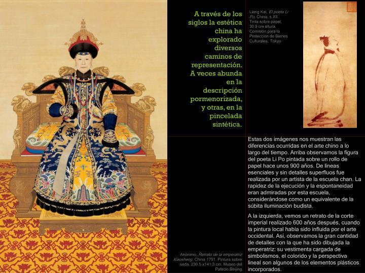 A través de los siglos la estética china ha explorado diversos caminos de representación. A veces abunda en la descripción pormenorizada, y otras, en la pincelada sintética.