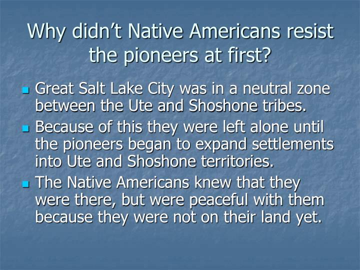 Why didn't Native Americans resist the pioneers at first?