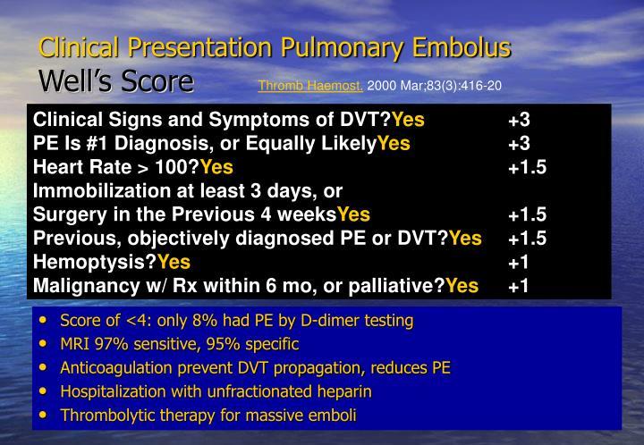 Clinical Presentation Pulmonary Embolus