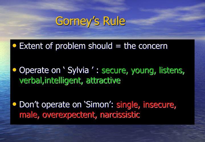 Gorney's Rule
