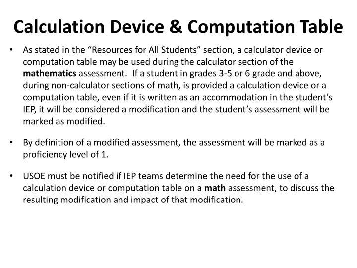 Calculation Device & Computation Table