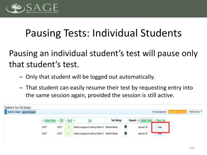 Pausing Tests: Individual Students