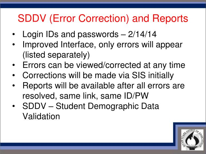 SDDV (Error Correction) and Reports