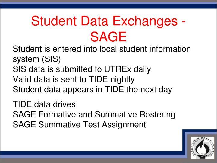 Student Data Exchanges - SAGE