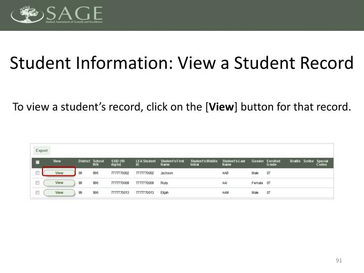 Student Information: View a Student Record