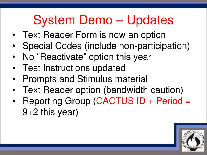 System Demo – Updates
