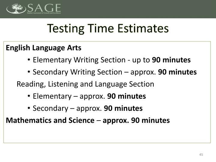 Testing Time Estimates