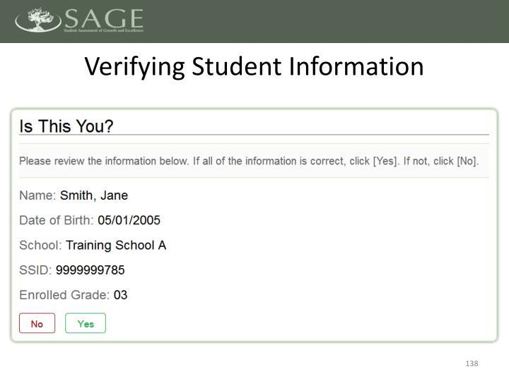 Verifying Student Information