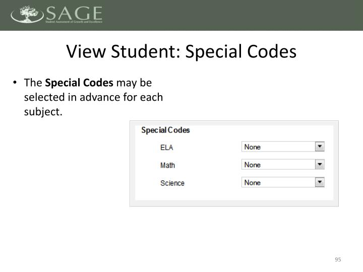 View Student: Special Codes