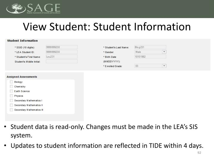 View Student: Student Information