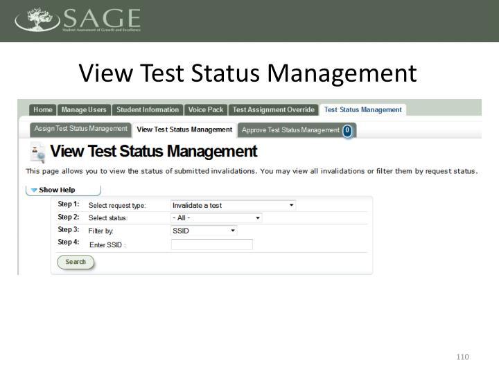 View Test Status Management