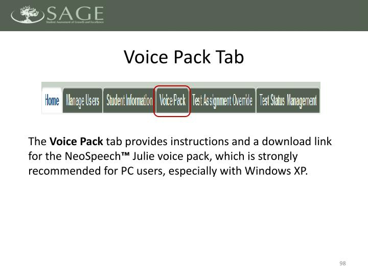 Voice Pack Tab