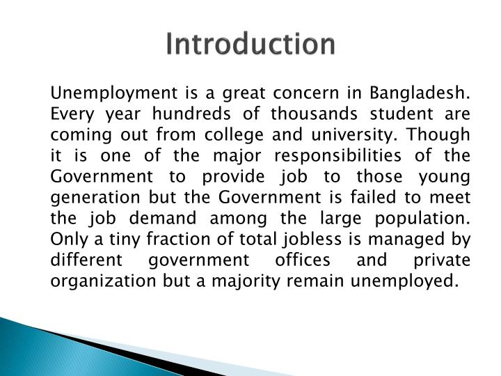 unemployment introduction Introduction 2 unemployment is a key measure of economic health it is a major factor in determining how healthy an economy is if the economy maximized efficiency, everyone would be employed at some wage an individual unemployed is both unproductive and a drain on.