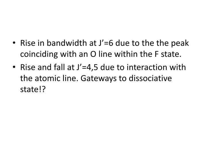 Rise in bandwidth at J'=6 due to the the peak coinciding with an O line within the F state.