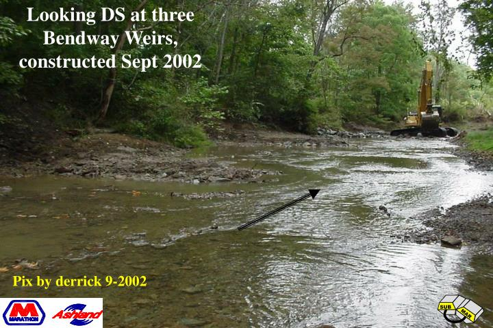 Looking DS at three Bendway Weirs,  constructed Sept 2002