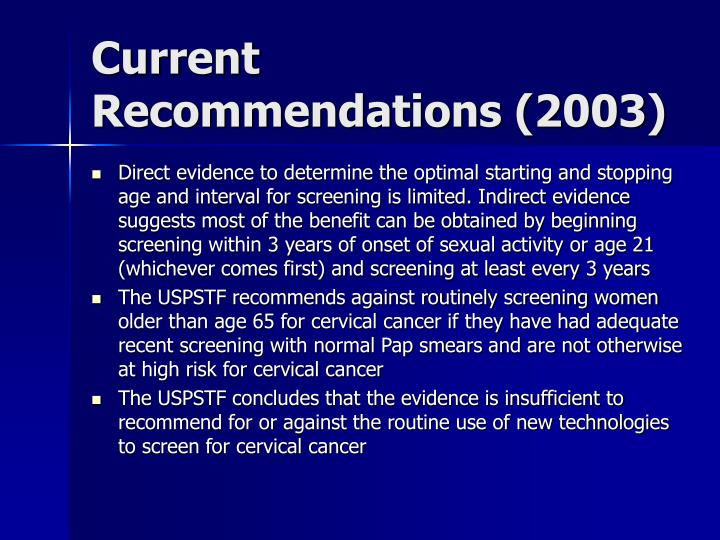 Current Recommendations (2003)