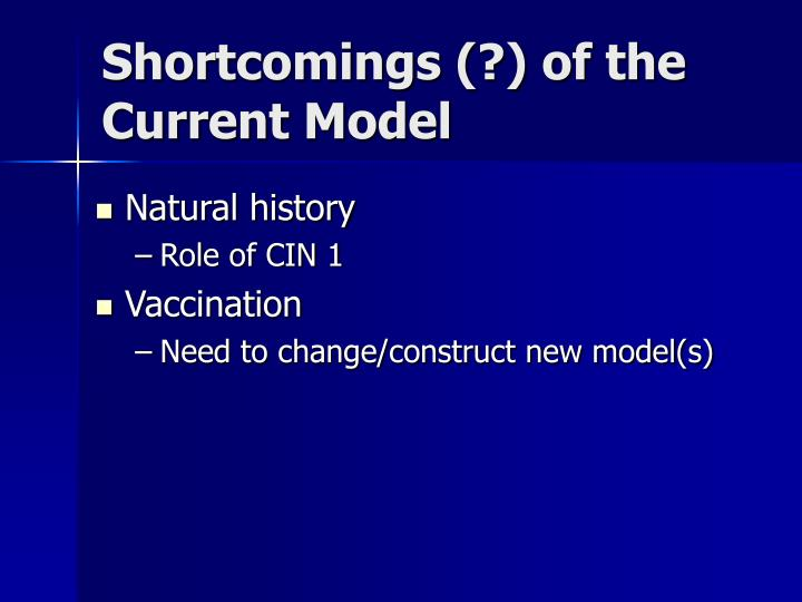 Shortcomings (?) of the Current Model