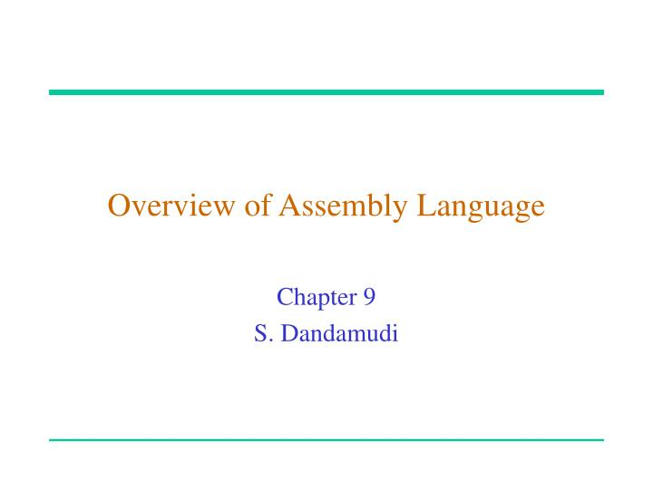 overview of assembly language n.