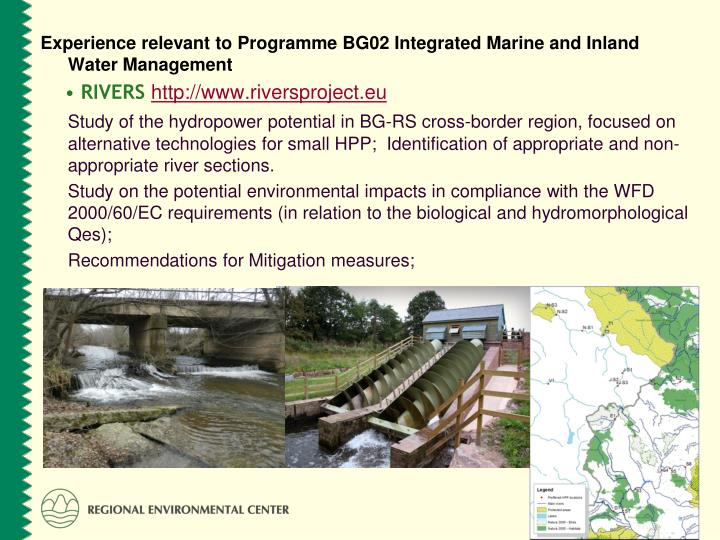 Experience relevant to Programme