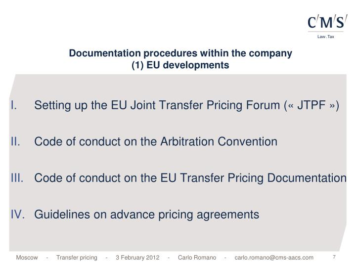 Documentation procedures within the company