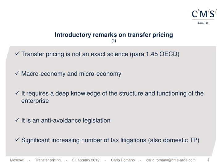Introductory remarks on transfer pricing 1